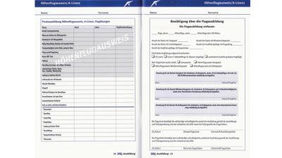 DHV Ausbildungnachweisheft Log Book vaufgeschlagen