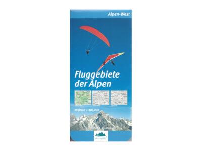 Karte Gleitschirm Flugkarte Fluggebiete der Alpen West