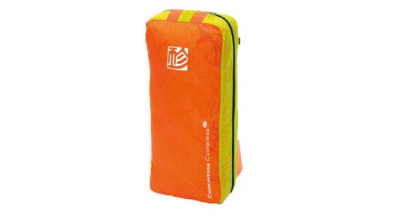Gin Gliders Concertina Zellenpacksack und Kompressionssack in einem mit Gleitschirm orange gelb