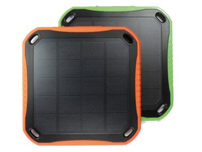 Stodeus Solarzelle zum mitnehmen in den Farben orange und grün