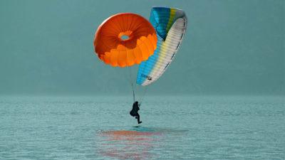 Icaro Lite Rettung Rundkappe Gleitschirm Landung im Wasser