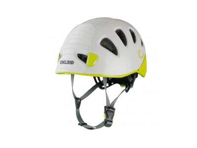 Das Bild zeigt dem Kletterhelm und Gleitschirmhelm Edelrid Shield 2. Es ist ein sehr leichter Helm und eignet sich zum Hike and Fly Gleitschirmfliegen.