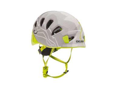 Das Bild zeigt dem Kletterhelm und Gleitschirmhelm Edelrid Shield 2 Lite . Es ist ein sehr leichter Helm und eignet sich zum Hike and Fly Gleitschirmfliegen. Die Farbe ist weiss-gelb.