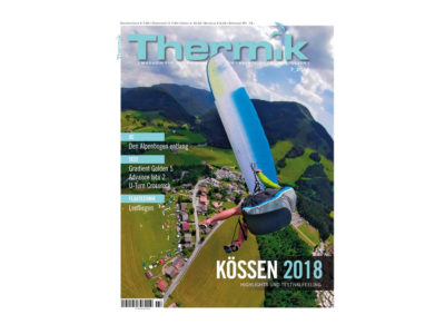 Das Bild zeigt das Cover des Gleitschirm Magazin Thermik für die Augabe Juli
