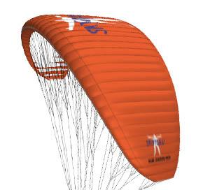 Das Bild zeigt den Gleitschirm Sir Edmund von Skyman in der Farbe orange. Der Schirm ist ein Leichtschirm.