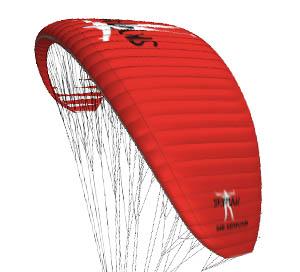 Das Bild zeigt den Gleitschirm Sir Edmund von Skyman in der Farbe rot. Der Schirm ist ein Leichtschirm.