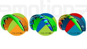 Das Bild zeigt die drei neuen Farben des Emotion 3. Ein U-Turn Gleitschirm der EN A Kategorie.